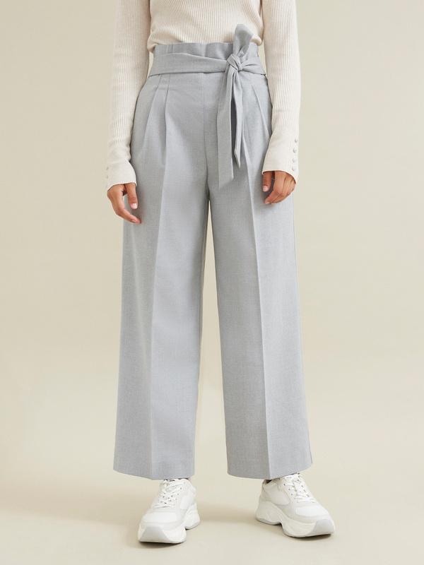 Широкие брюки на поясе с защипами - фото 4