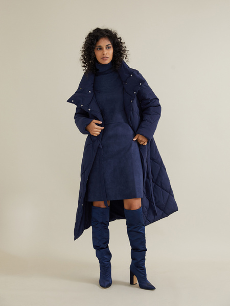 Стеганое пальто с воротником-стойка - фото 4