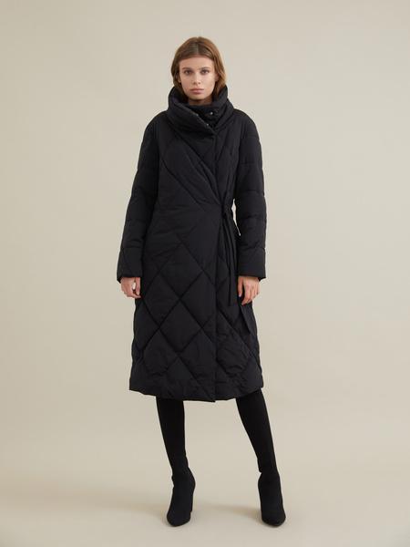 Стеганое пальто с воротником-стойка - фото 1