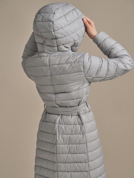 Стеганое пальто на поясе с капюшоном - фото 3