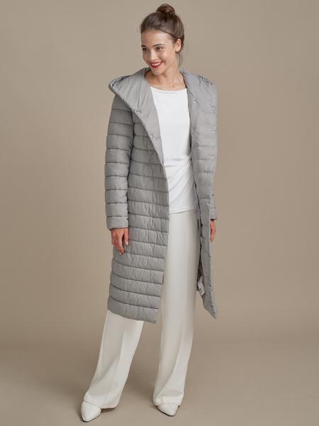 Стеганое пальто на поясе с капюшоном - фото 4