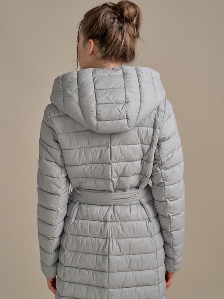 Стеганое пальто на поясе с капюшоном - фото 5