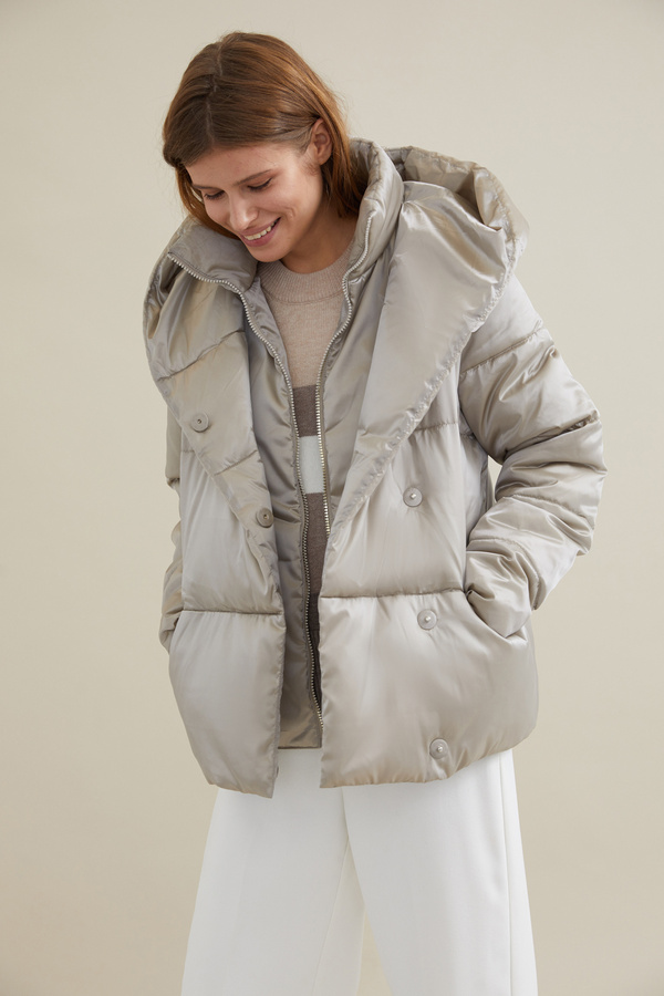 Стеганая куртка с капюшоном - фото 3