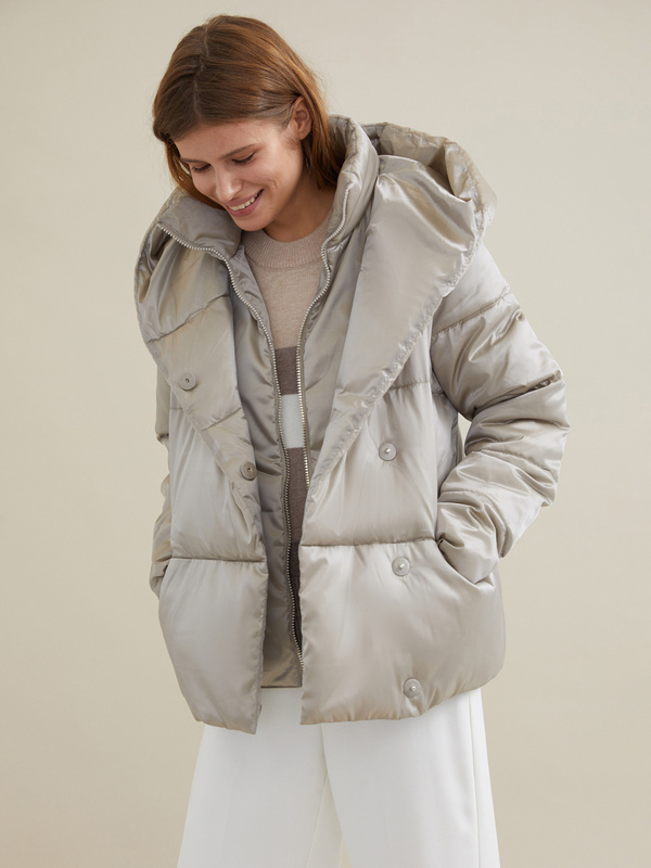 Стеганая куртка с капюшоном - фото 4