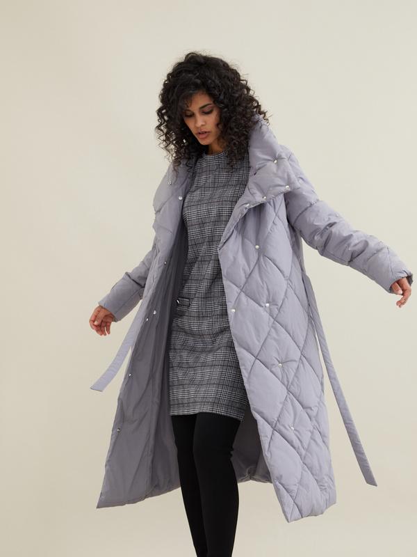 Стеганое пальто с воротником-стойка - фото 6