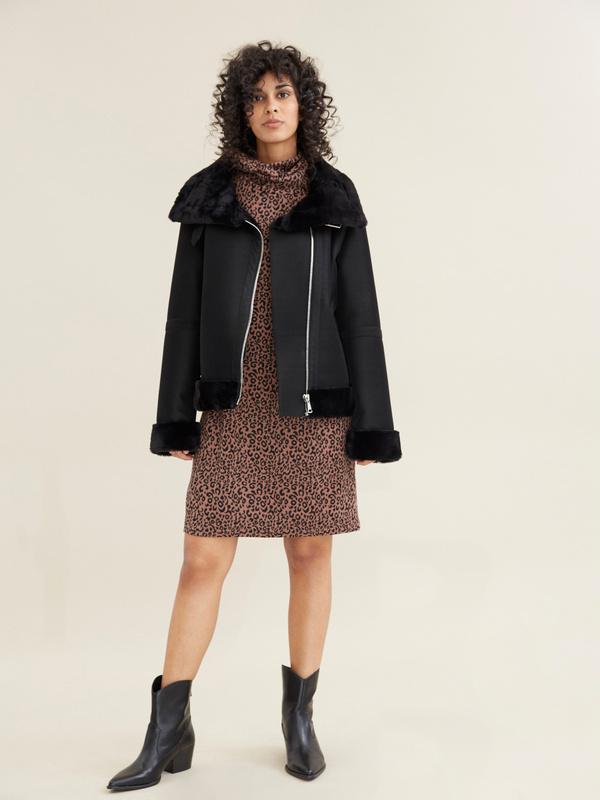 Куртка-дубленка с воротником стойкой - фото 1