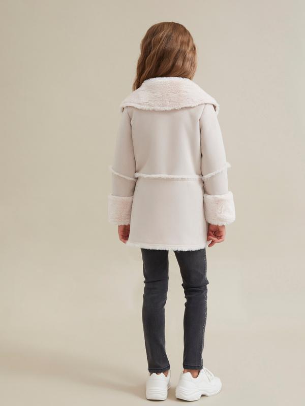 Пальто для девочек имитация замши - фото 5
