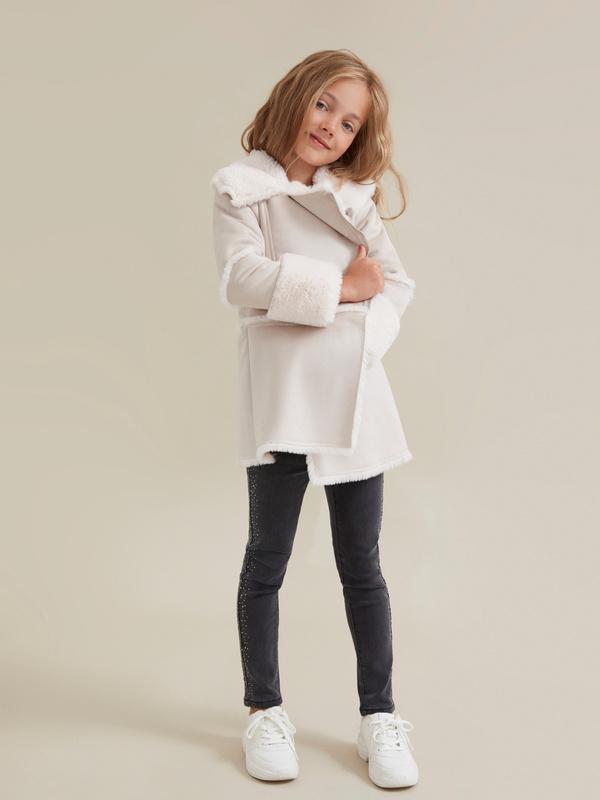 Пальто для девочек имитация замши - фото 6
