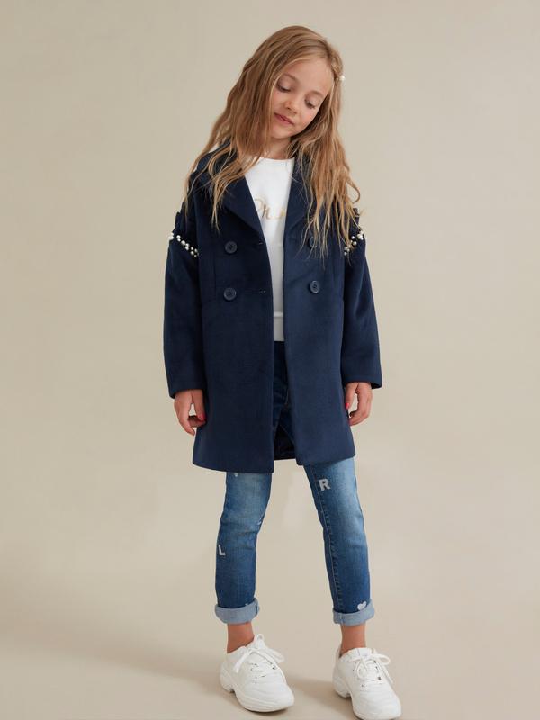 Пальто для девочек с бусинами - фото 1