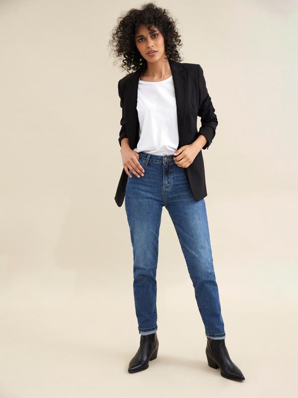 Прямые джинсы с эффектом потертости - фото 1