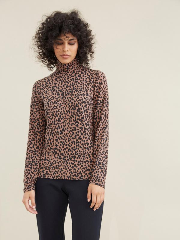 Облегающий джемпер с леопардовым принтом - фото 1