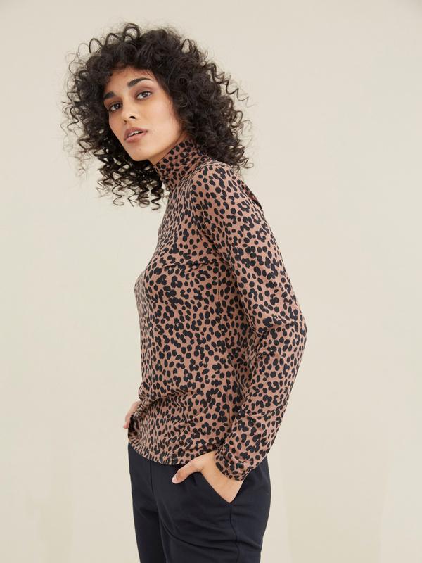 Облегающий джемпер с леопардовым принтом - фото 3