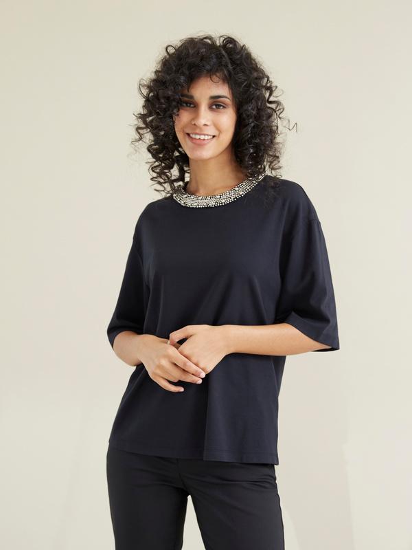 Блузка с декорированным воротником - фото 4
