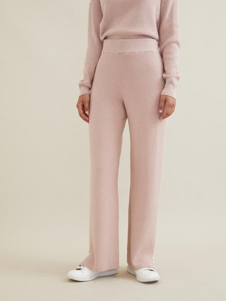 Трикотажные брюки с люрексом и бусинами - фото 1