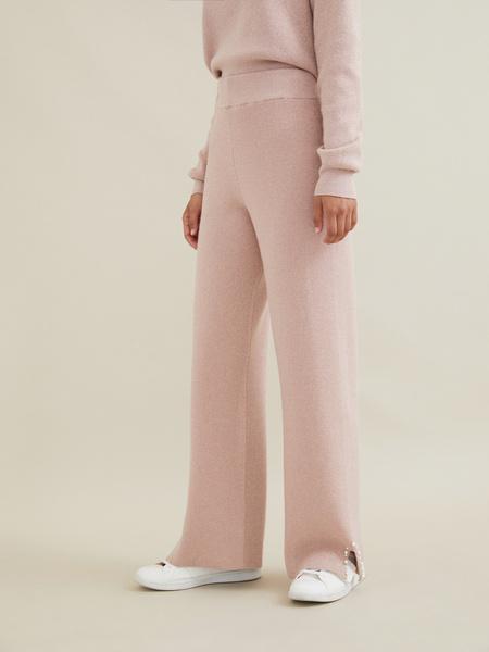 Трикотажные брюки с люрексом и бусинами - фото 4