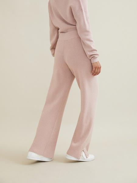 Трикотажные брюки с люрексом и бусинами - фото 5