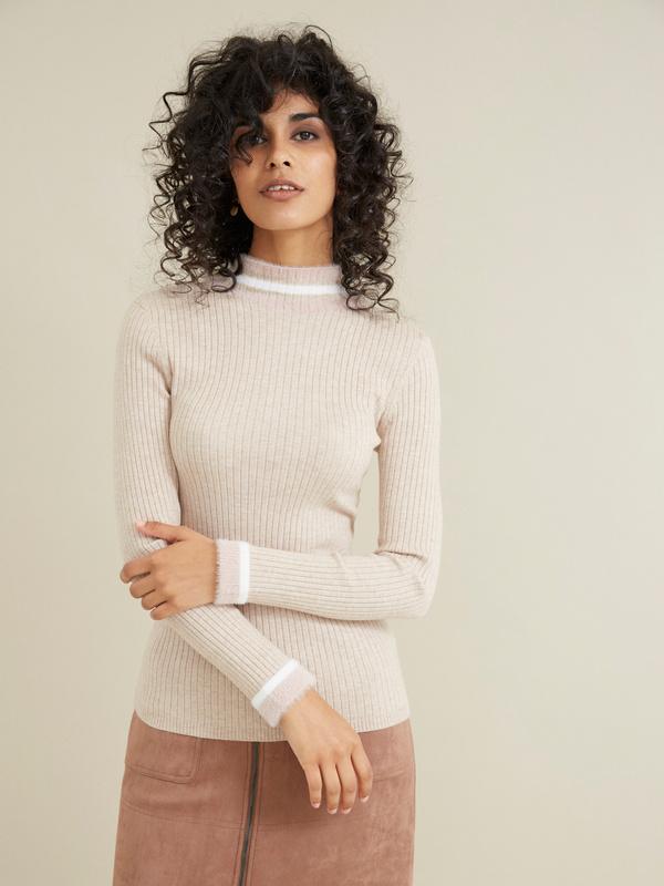 Облегающий свитер в рубчик - фото 1