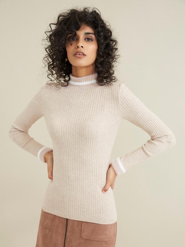 Облегающий свитер в рубчик - фото 3