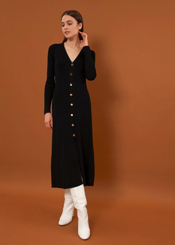 Трикотажное платье-миди на пуговицах - фото 2