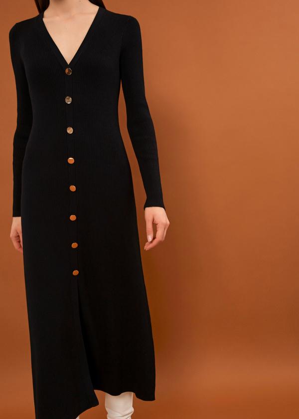 Трикотажное платье-миди на пуговицах - фото 3