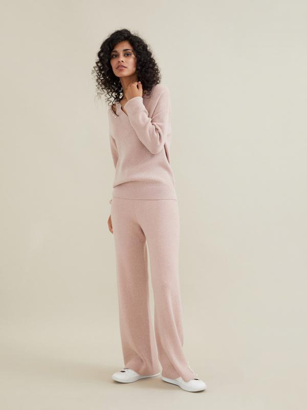 Трикотажные брюки с люрексом и бусинами - фото 2