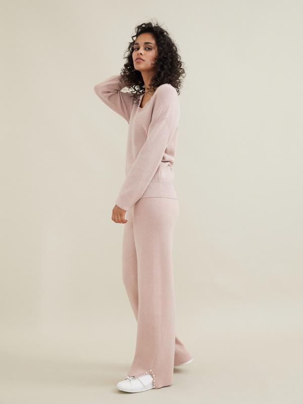 Трикотажные брюки с люрексом и бусинами - фото 3