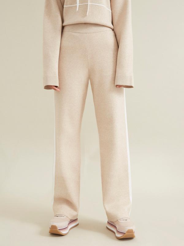 Трикотажные брюки с контрастной полосой - фото 1