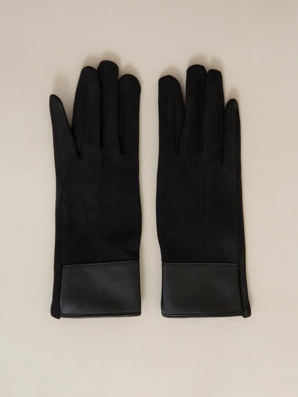 Перчатки со вставкой  из искусственной кожи - фото 1
