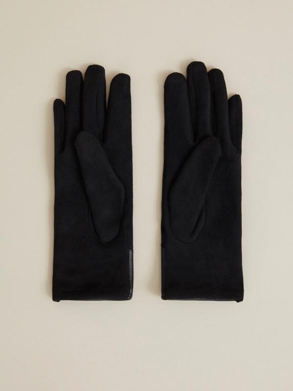 Перчатки со вставкой  из искусственной кожи - фото 2