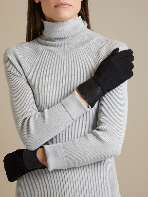 Перчатки со вставкой  из искусственной кожи - фото 3