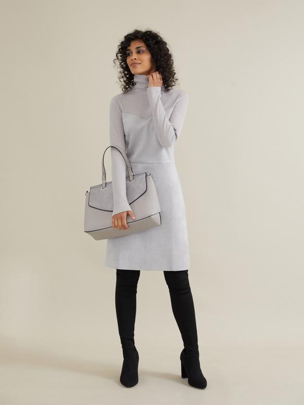 Комбинированное платье-мини - фото 6
