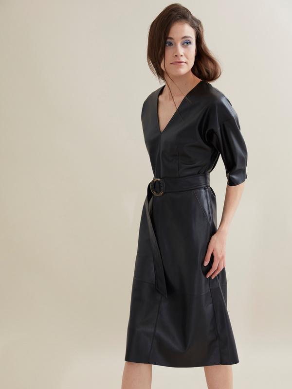 Платье-миди с поясом искусственная кожа - фото 1