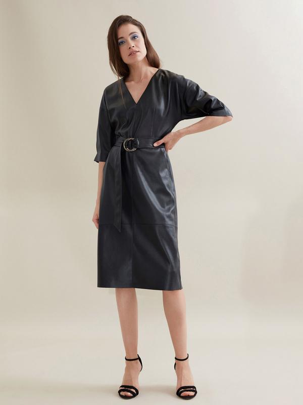 Платье-миди с поясом искусственная кожа - фото 2
