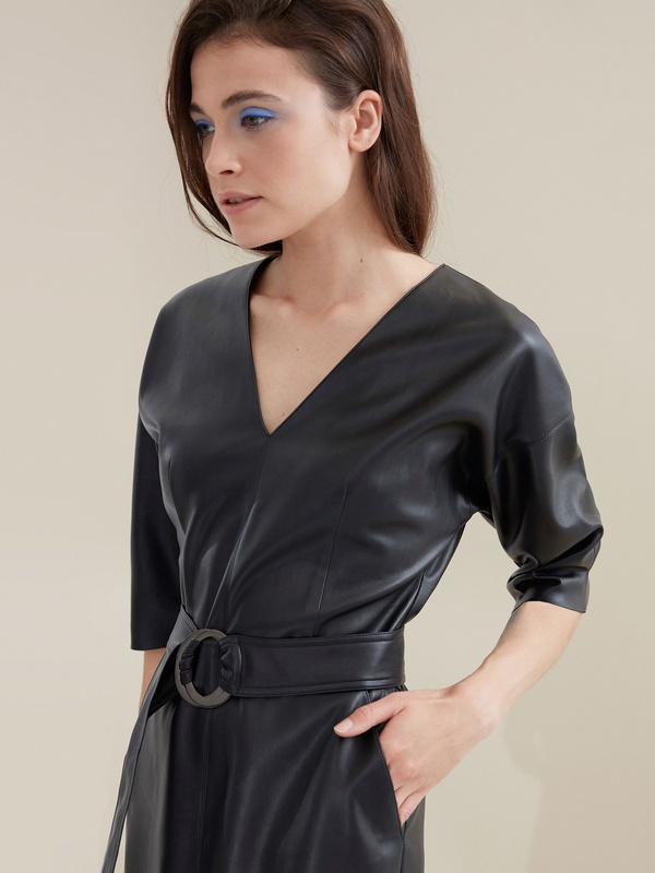 Платье-миди с поясом искусственная кожа - фото 3