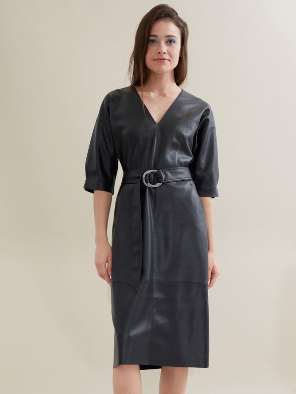 Платье-миди с поясом искусственная кожа - фото 5