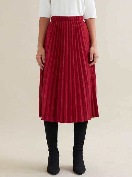 Плиссированная юбка имитация замша - фото 1
