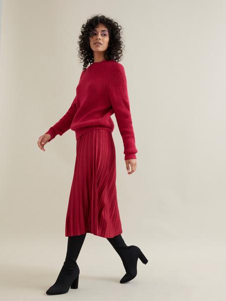 Плиссированная юбка имитация замша - фото 5