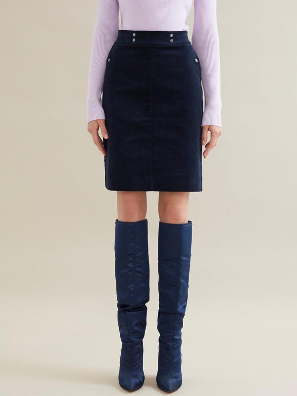 Вельветовая юбка-мини - фото 1