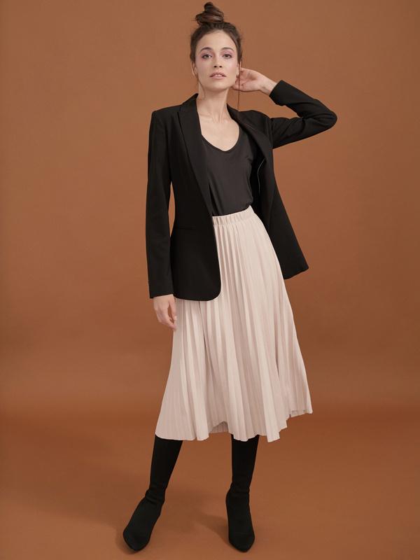 Плиссированная юбка имитация замша - фото 2