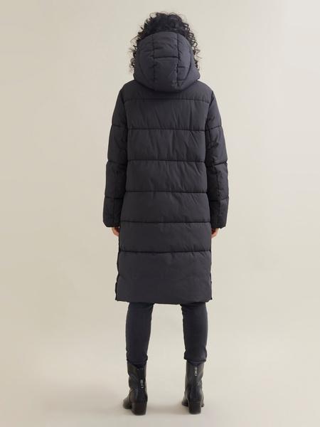 Длинное стеганое пальто с капюшоном - фото 5