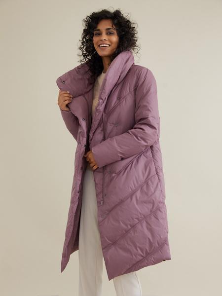 Стеганое пальто с ассиметричной застежкой - фото 3