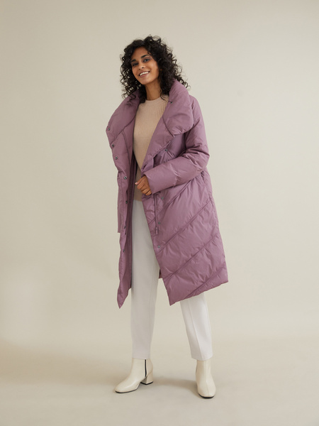 Стеганое пальто с ассиметричной застежкой - фото 5