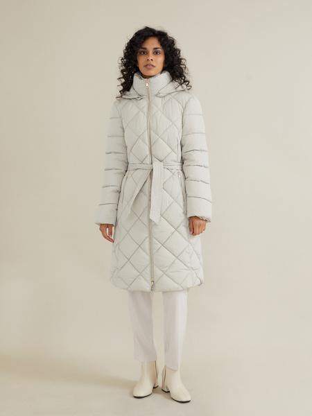 Стеганое пальто с поясом и капюшоном - фото 3