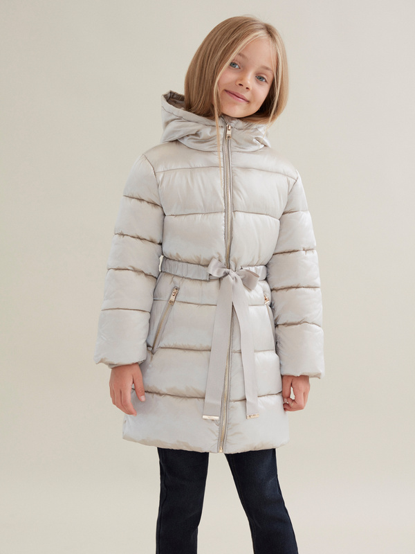 Стеганое пальто для девочек с капюшоном - фото 1