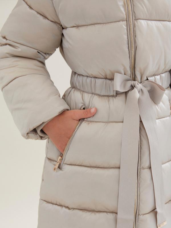 Стеганое пальто для девочек с капюшоном - фото 2