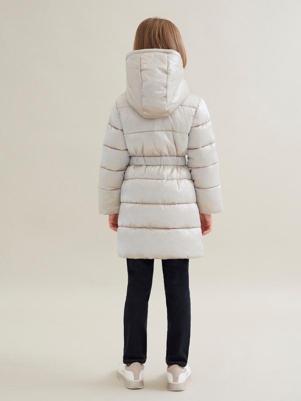 Стеганое пальто для девочек с капюшоном - фото 3