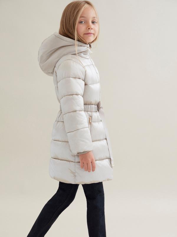 Стеганое пальто для девочек с капюшоном - фото 4
