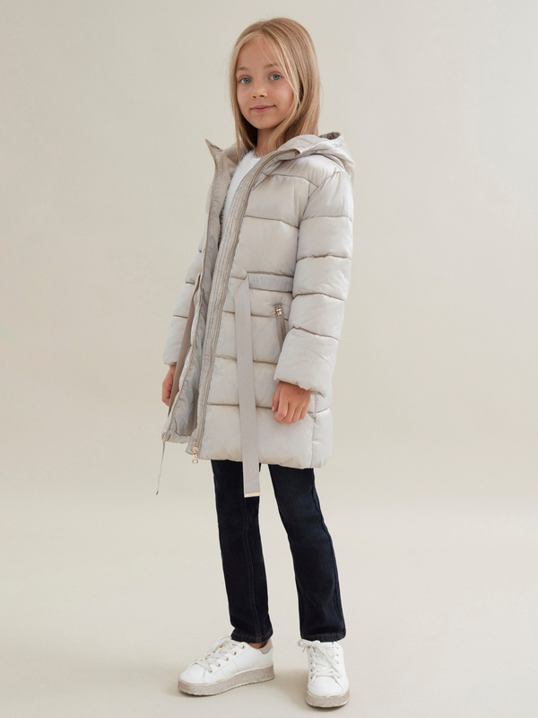 Стеганое пальто для девочек с капюшоном - фото 5