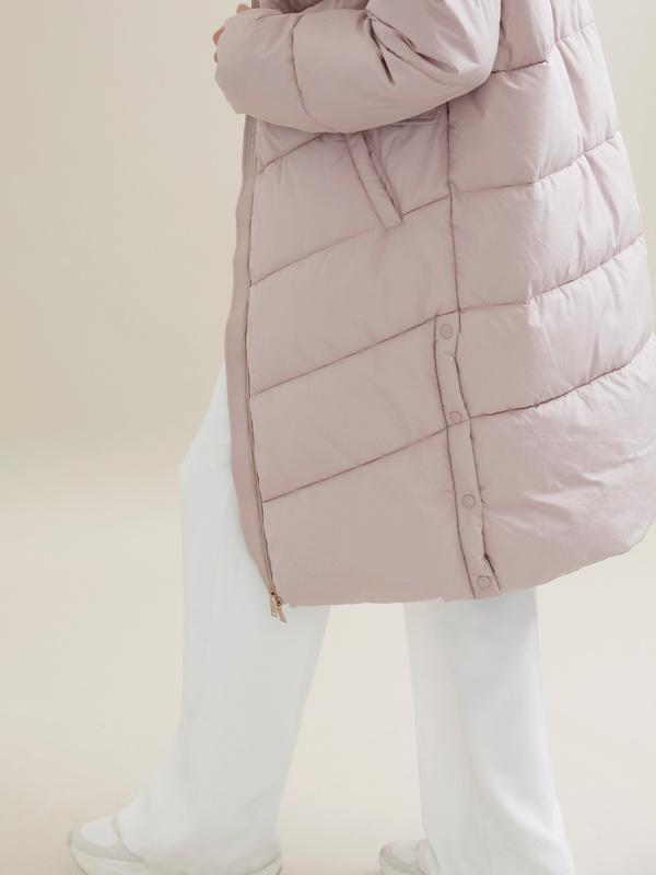 Длинное стеганое пальто с капюшоном - фото 2