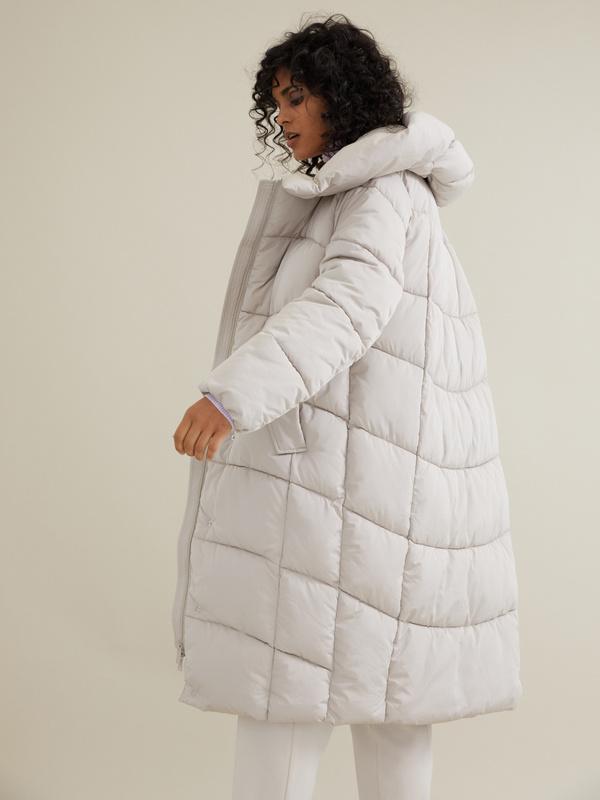 Стеганое пальто с капюшоном - фото 6